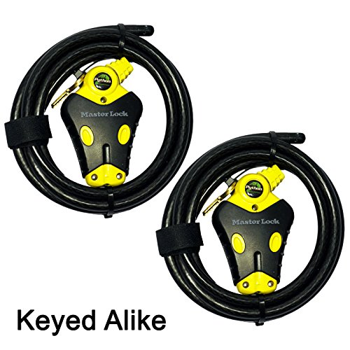 Master Lock - Two 6 ft Python Adjustable Cable Locks Keyed Alike, 8413KACBL-66