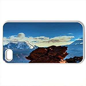 lintao diy beautiful rocks on a mesa at a mountain range - Case Cover for iPhone 4 and 4s (Canyons Series, Watercolor style, White)