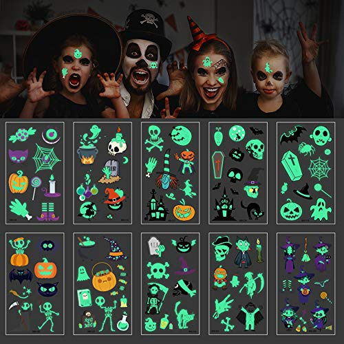 TUPARKA 370 Pcs Halloween Temporary Tattoos for Kids Glow Tattoo Stickers for Halloween Party Dark ()