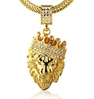 Halukakah® Men's 18k Real Gold Plated Crown Lion Pendant Necklace,Cz Inlay,with FREE Fishtail Chain 30""