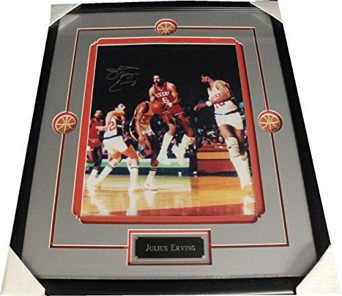 Erving Hand Signed - Julius Dr J Erving Hand Signed Auto Custom Framed 16x20 Photo Philadelphia 76ers