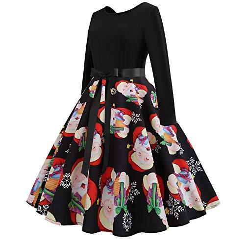 FEDULK Sale Christmas Dress for Women FEDULK Santa Claus Print Vintage Gown Evening Swing Dress(Black, US Size XL = Tag 2XL) -