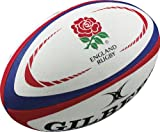 Gilbert England Rugby Replica Ball - White/Red, Size 5