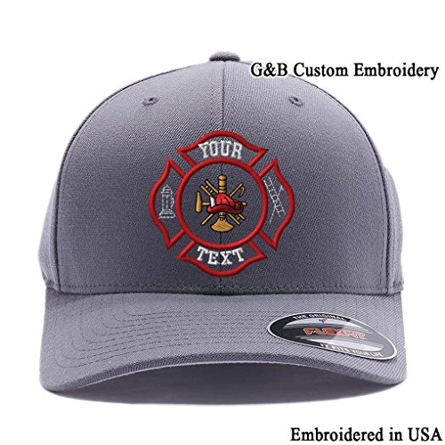 Yupoong Custom Hat. Firefighter Cap Flexfit 6477. Embroidered. Your Own Text on it. (L/XL, Grey) -