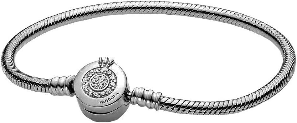 PANDORA Moments Sparkling Crown O Snake Chain, Clear CZ 925 Sterling Silver  Charm Bracelet