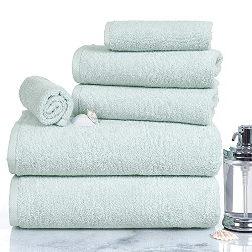 Lavish Homes 67-0017-SF 6 Piece Cotton Towel Set44; Seafoam