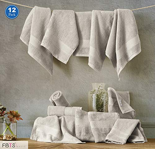 FBTS Basic Washcloths 12 Packs Grey 14x14 Inches Cotton Luxury Wash Cloth Towels Highly Absorbent Extra Soft Professional Grade Five-Star Hotel Quality