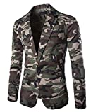 YUNY Men Single-Breasted Turn-Down Collar Floral Camo Print Slim Dress Suit Army Green L