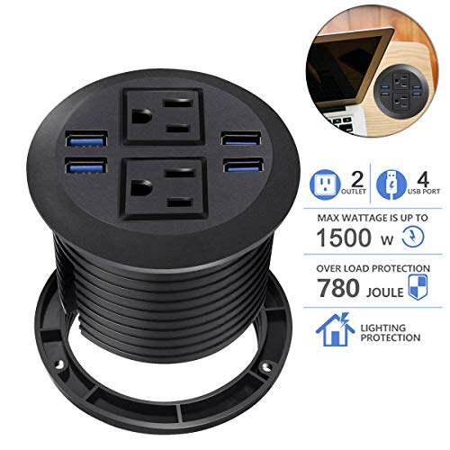(Desktop Power Grommet with USB,Hidden Power Socket. Desk Hole Grommet Outlet,Easy Access to 2 power Source Along with 4 USB Power Port Connections(4 USB Ports))
