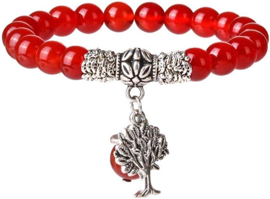 ObttoLava Beads Energy Yoga Pulsera Hombres Mujeres Piedras Naturales Árbol de la Vida Pulseras con dijes, árbol Rojo