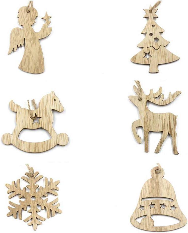 New Snowflake Christmas Tree Xmas Wood Craft Ornament Hanging Decorations Tags