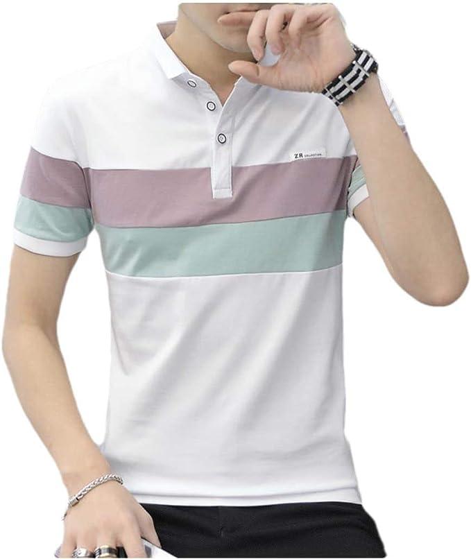 VITryst Men Soft Short Sleve Hit Colors Polo-Collar Tunic Shirt ...