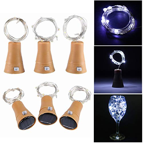 Wine Bottle Light 10 LED Solar Powered Bottle Cork Lights 6 Pack Indoor String Lights Mini Fairy Copper Wire Light for Outdoor Party Wedding Christmas Decoration (Cool White)