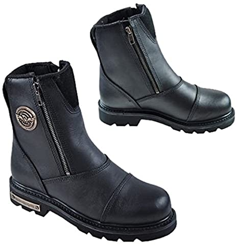 Black, Size 9.5 Milwaukee Mens Classic Motorcycle Boots