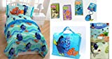 "Disney Finding Dory "" TWIN - 8 PIECES BEDDING SET"" • Reversible Comforter Sheet Set + Carry Bag + Wall Decals Pack + Key Chain + Kleenex Tissue Pack"