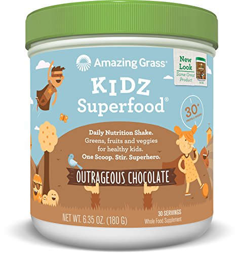Amazing Grass Kidz Superfood Outrageous Chocolate 30 Servings, 6.35 Oz