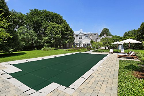 16'x32' Mesh - CES Rectangle Inground Safety Pool Cover - 16 ft x 32 ft In Ground Winter Cover with 4'x8' Center End Steps (Green) ()