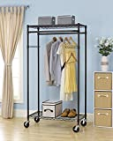 Generic olling C Shelf Dress G66 ent Rack Shelving Wire R New Bronze Garment Ra 2-Tier Rolling Clothing w Bronze 2-T Garment Rack 2-Tier R