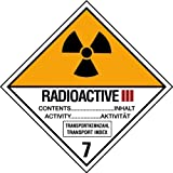Aufkleber Radioaktive Stoffe Katergorie III Gelb Nr. 7c 150mm