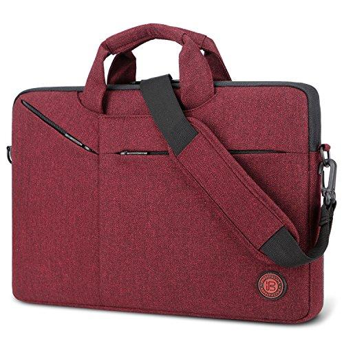 Laptop Bag,BRINCH Slim Water Resistant Laptop Messenger Bag Portable Laptop Sleeve Case Shoulder Bag Briefcase Handbag with Strap for Up to 15.6 Inch Laptop/Notebook Computer Men/Women,Red ()