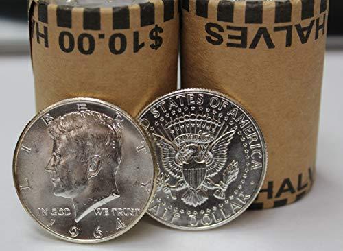 Dollar Half Coins 1964 - 1964 P & D Roll of 20 ($10 Face) 90% Silver Kennedy Half Dollar Bankroll Brilliant Uncirculated