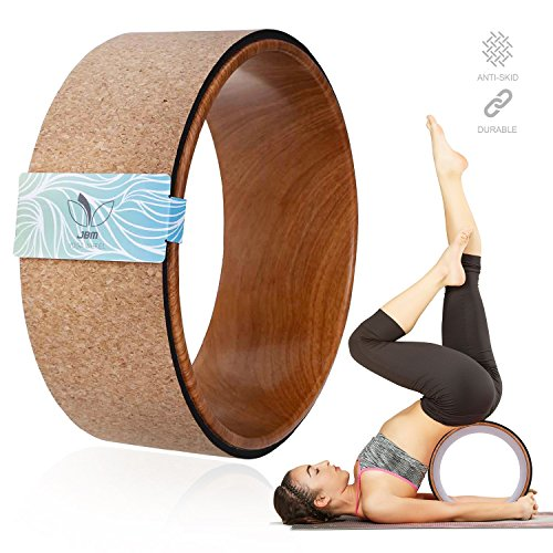 """JBM Cork Yoga Wheel Yoga Prop for Comfortable BackBend Stretch and Deeper Postures Support Relieves Pain and Stress in Your Back Hips Chest and ShouldersIncreased Flexibility and Strength 13""""x5"""""""