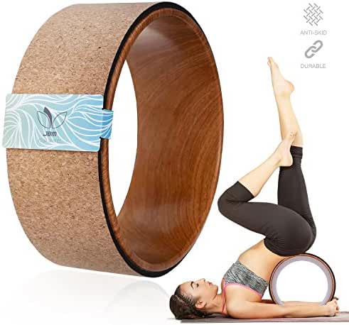 JBM Cork Yoga Wheel Yoga Prop for Comfortable BackBend Stretch and Deeper Postures Support Relieves Pain and Stress in Your Back Hips Chest and ShouldersIncreased Flexibility and Strength 13