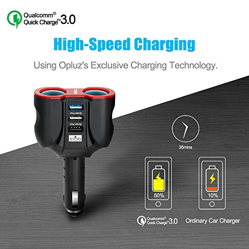 QC30 sensible vehicle Charger 2 Socket 3 USB 2xSmart USB Port 1xQC30 USB Port multi-function vehicle Socket Splitter Adapter fashioned in 10A Fuse for sensible devices Tablets GPS MP3 Players vehicle Chargers