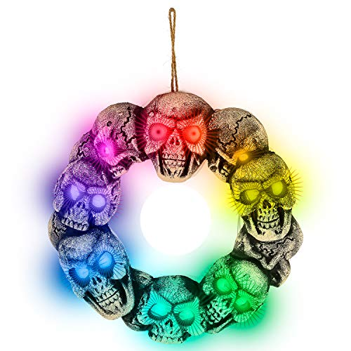 Halloween Haunters Hanging Skull Door Wreath with Flashing Multi-Color LED Lights Prop Decoration - Spooky Light-Up Blinking Round Skeleton Head - Haunted House Entryway