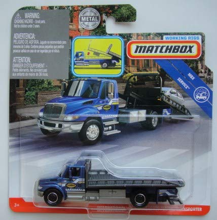 Matchbox SERVICE INTERNATIONAL DURASTAR 4400 FLATBED TRANSPORTER WORKING RIGS