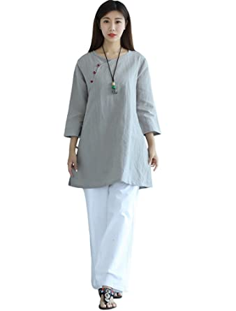 d059444344 Minibee Women's Linen Blouse Chinese Style Button Tunic Shirt at Amazon  Women's Clothing store: