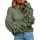 Hopwin Suéter con borlas para Mujer, Manga Larga, Cuello Redondo, Suelto, de Punto, para Mujer