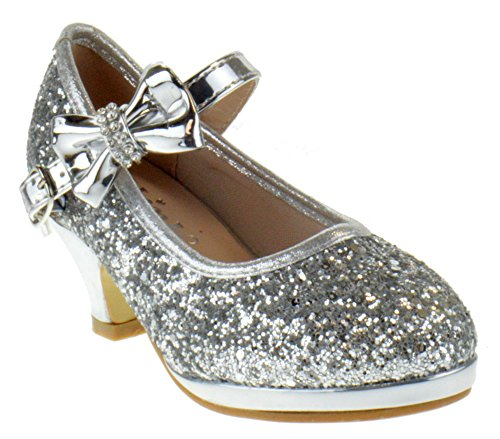 Link Dana 13K Little Girls Heeled Rhinestone Bow Glitter Pumps Silver 13