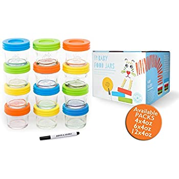 Glass Baby Food Storage Containers - Set contains 12 Small Reusable 4oz Jars with Airtight Lids  sc 1 st  Amazon.com & Amazon.com: Glass Baby Food Storage Containers - Set contains 12 ...