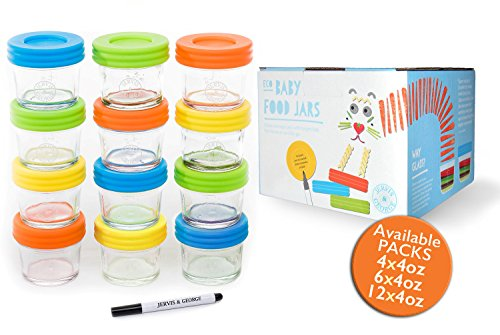 Glass Baby Food Storage Containers - Set contains 12 Small Reusable 4oz Jars with Airtight Lids - Safely Freeze your Homemade Baby Food