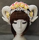 Qhome White Rose Gauze Sheep Horn Hoop Headband Forest Animal Photography Original Manual Aries Exhibition Cosplay Photo Props Deluxe Costume Horns (Rose+Horn)