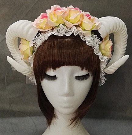 Qhome White Rose Gauze Sheep Horn Hoop Headband Forest Animal Photography Original Manual Aries Exhibition Cosplay Photo Props Deluxe Costume Horns (Rose+Horn) -