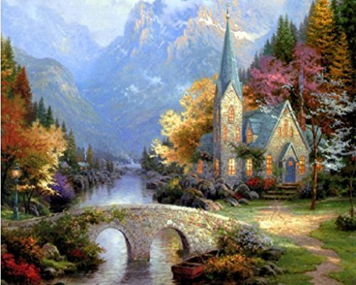 DIY Oil Painting, Paint By Number Kit - Exotic (Thomas Kinkade The Mountain Chapel) 16X20 Inch