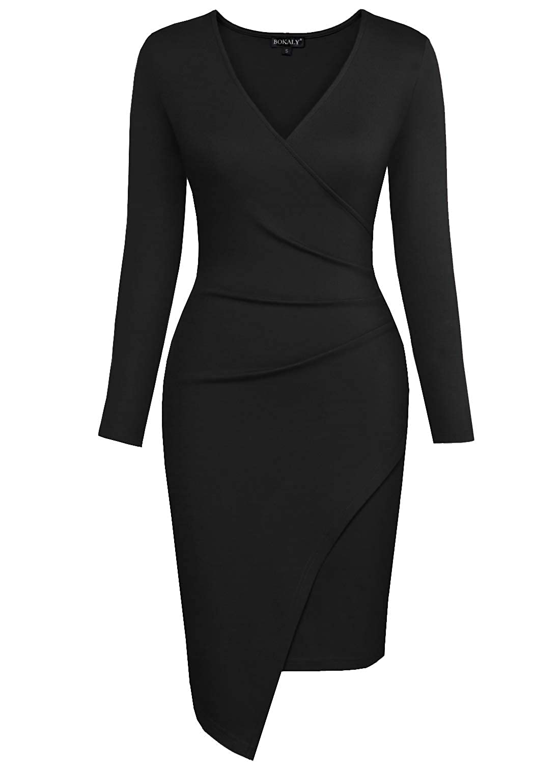 5053f6a36f3ef BOKALY Women Bodycon Dress Party Casual V Neck Ruched Wrap Pencil Cocktail  Dresses 258