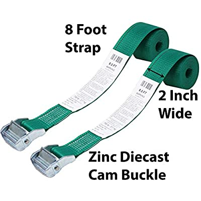 CustomTieDowns 2 Pack, 2 Inch Cinch Strap Endless Loop Tie Down, Shrink Wrap Packaging, Zinc Diecast Cam Buckle, Endless Loop (No Hooks), Polyester Tie-Down Webbing. 8 Ft (96 Inches)(Green): Sports & Outdoors