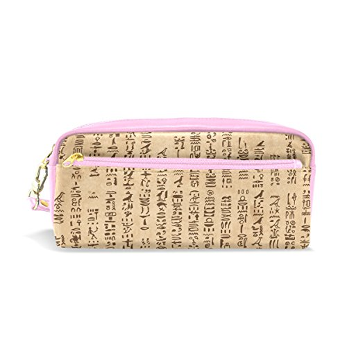 Essentials For A Nerd Costume (Egyptian Decor Pencil Case Portable Pen Organizer Bag PU Leather Large Capacity)