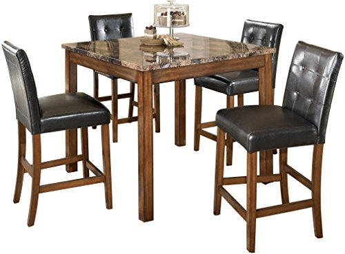 - Ashley Furniture Signature Design - Theo Dining Room Table and Barstools - Counter Height - Set of 5 - Warm Brown and Black