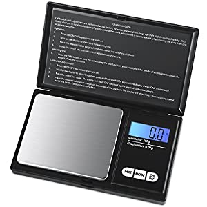 Ebot Digital Mini Scale, 100g/0.01g Pocket Jewelry Scale, Electronic Smart Scale with 7 Units, LCD Backlit Display, Tare Function, Auto Off, Stainless Steel & Slim Design (Battery Included)