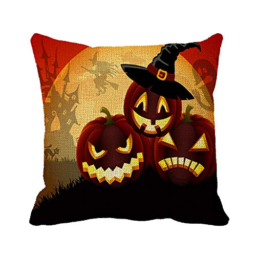 Julyou Happy Halloween My Love Quotes Pillow Case Cover 18 x 18 Square Decorative Linen Cushion Cover