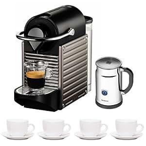 Nespresso Pixie C60 Electric Titan Espresso Machine + Set of 4 Ceramic Tiara Espresso Cups (3 oz) and Saucers