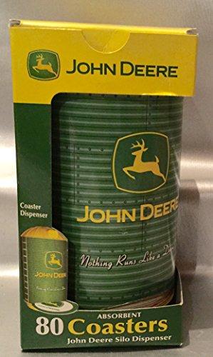 John Deere Coasters - John Deere 3.5 Absorbent Coasters in Silo Dispenser