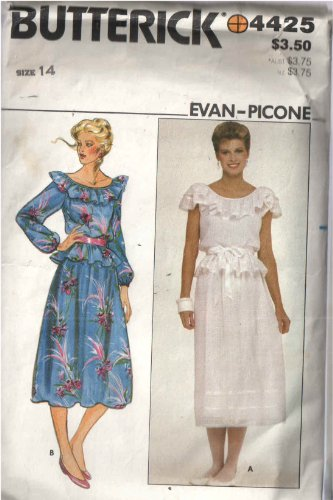 Butterick 4425 Evan Piccone Ruffled Shoulder & Sleeves and Elastic Waist Top with Gathered Waistband Side Zip ()