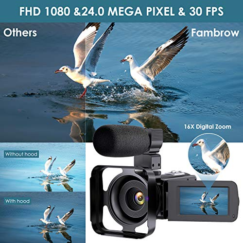 Video Camera Camcorder with Microphone, Full HD 1080P 24MP 30FPS FamBrow Digital YouTube Vlogging Camera Recorder Night Vision 3.0 Inch 270 Degree Rotation LCD 16X Digital Zoom Camcorders, 2 Batteries