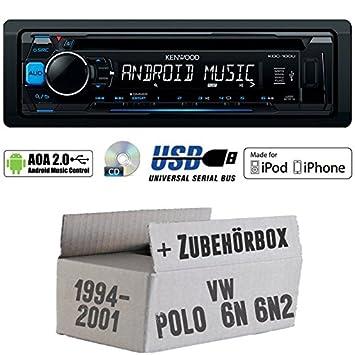 JUST SOUND best choice for caraudio Android MP3 6N2 USB iPhone Autoradio Bluetooth Einbauset f/ür VW Polo 6N JVC KD-X341BT