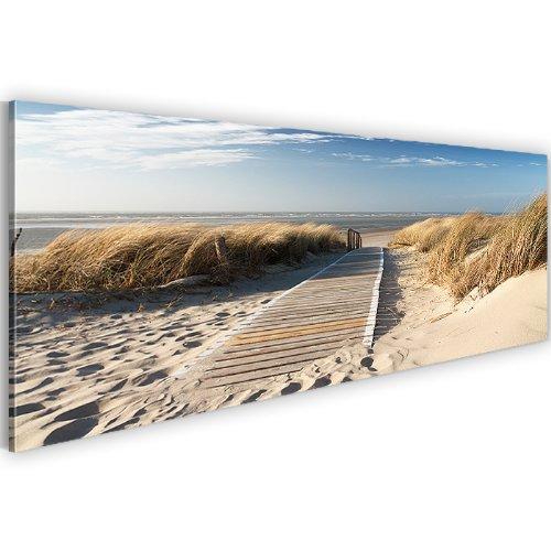 Bilder !!! SENSATIONSPREIS !!! 100 % MADE IN GERMANY !!! 110 x 40 cm Wandbild Bild auf Vlies Leinwand XXL Panoramabild Landschaft, Strand, Sand, Meer, Steeg Kunstdrucke 604011a